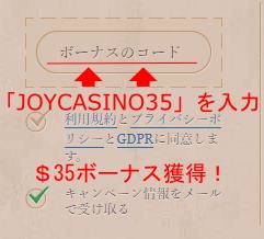 ジョイカジノコード入力1
